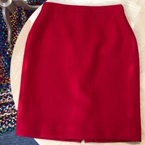 J. Crew Red Wool Pencil Skirt